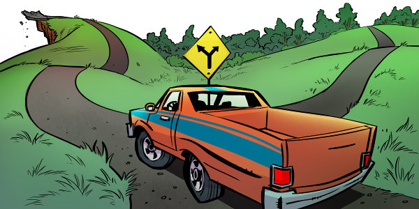 An El Camino heading for a cliff