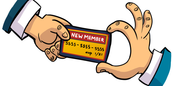 A new member handing a credit card to the association.